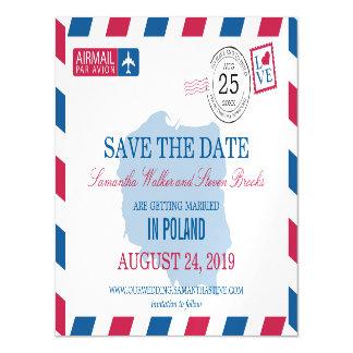 ポーランドの航空郵便の保存日付 マグネットカード