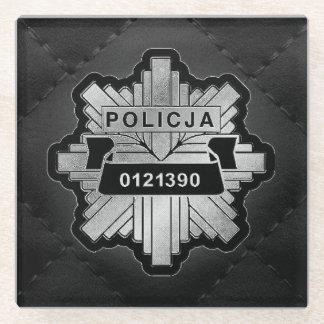 ポーランドの警察はコースターに記章を付けます ガラスコースター