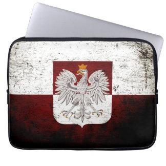 ポーランドの黒くグランジな旗 ラップトップスリーブ