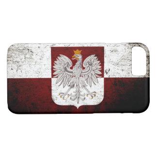 ポーランドの黒くグランジな旗 iPhone 8/7ケース
