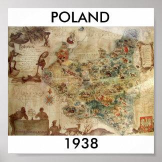 ポーランド1938の地図 ポスター