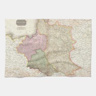 ポーランド(1818年)のヴィンテージの地図 キッチンタオル