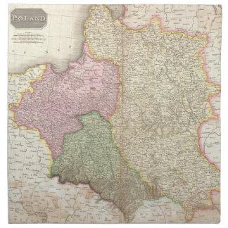 ポーランド(1818年)のヴィンテージの地図 ナプキンクロス