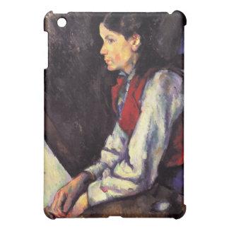 ポールセザンヌの芸術を絵を描いている赤いベストを持つ男の子 iPad MINIカバー
