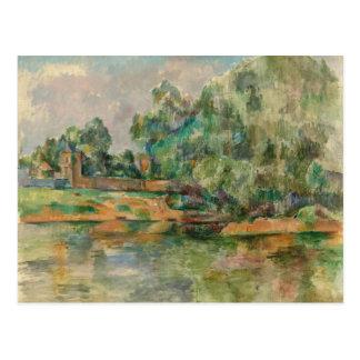 ポールセザンヌの郵便はがきによる川岸 ポストカード