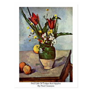 ポールセザンヌ著チューリップそしてりんごの静物画 ポストカード