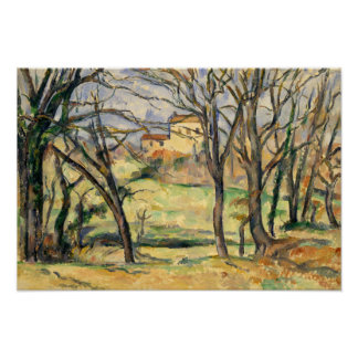 ポールセザンヌ-木および家 ポスター