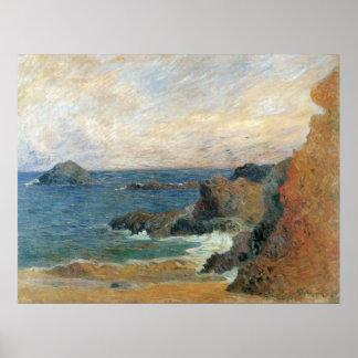 ポール・ゴーギャンのヴィンテージの印象主義著岩が多い海岸 ポスター