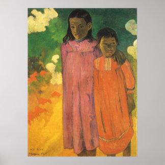 ポール・ゴーギャンのヴィンテージの印象主義著2人の姉妹 ポスター