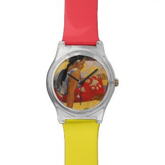 ポール・ゴーギャンタヒチParau Apiのヴィンテージの2人の女性 腕時計