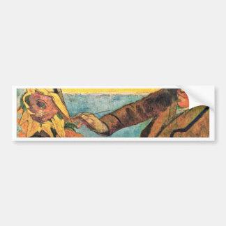 ポール・ゴーギャン著ゴッホの絵画のヒマワリ バンパーステッカー