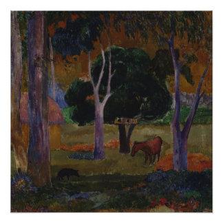 ポール・ゴーギャン著ブタそして馬との景色 ポスター