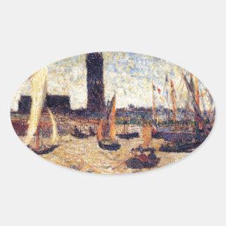 ポール・ゴーギャン著ボルドー港 楕円形シール
