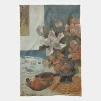 ポール・ゴーギャン著中国のなシャクヤクそしてマンドリン キッチンタオル