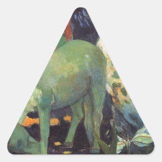 ポール・ゴーギャン著白馬 三角形シール