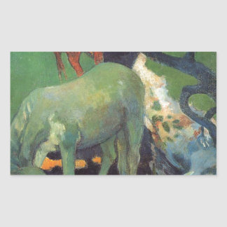 ポール・ゴーギャン著白馬 長方形シール