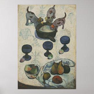 ポール・ゴーギャン著3匹の子犬が付いている静物画 ポスター
