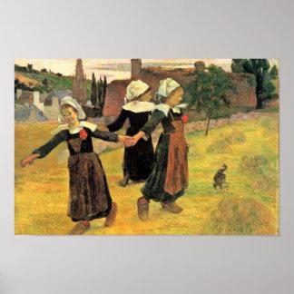ポール・ゴーギャン著Pont-Avenを踊っているブルターニュの女の子 ポスター