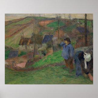ポール・ゴーギャン-ブリッタニーの景色 ポスター
