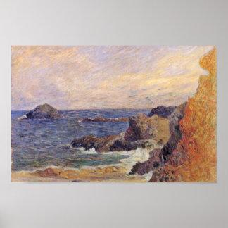 ポール・ゴーギャン(最も最高のな質)著岩が多い海海岸 ポスター