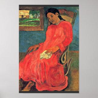ポール・ゴーギャン(最も最高のな質)著赤い服の女性 ポスター