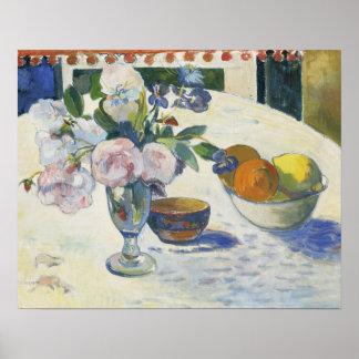 ポール・ゴーギャン-花およびフルーツのボール ポスター