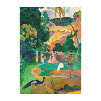 ポール・ゴーギャンMatamoeの孔雀との景色 キャンバスプリント