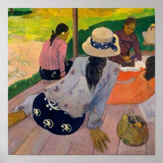 ポール・ゴーギャンTahitianの女性タヒチによる昼寝 ポスター