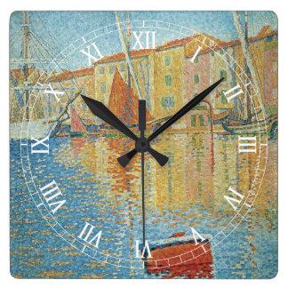 ポール・シニャックのヴィンテージの点描著赤いブイ スクエア壁時計