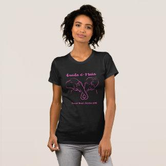 マイアおよびGuidaの黒及びピンクの女の子らしいティー Tシャツ