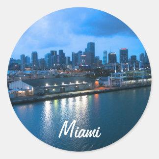 マイアミの写真の港をカスタマイズ ラウンドシール