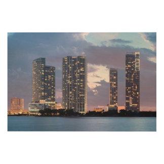 マイアミの水辺地帯のマンションタワー ウッドウォールアート
