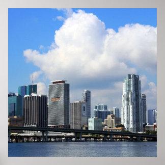 マイアミの水辺地帯の眺め ポスター
