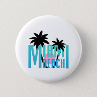 マイアミビーチフロリダタイポグラフィ 缶バッジ