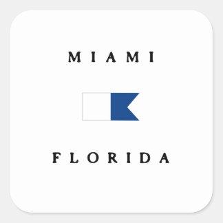 マイアミフロリダのアルファ飛び込みの旗 スクエアシール