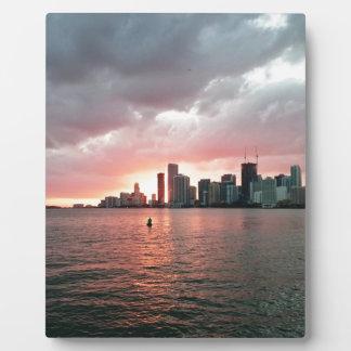 マイアミ上の日没 フォトプラーク