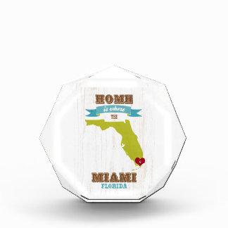 マイアミ、フロリダの地図-ハートがあるところでがあります家 表彰盾