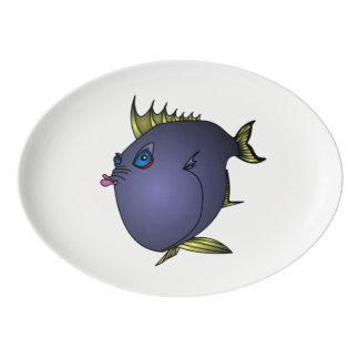 """マイククウィン著態度の""""Charlene""""の魚 磁器大皿"""