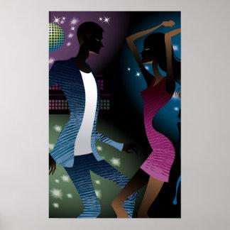マイクロフォンによって踊っている人々の側面図 ポスター