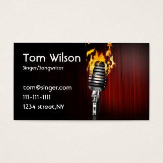 マイクロフォンの歌手の音楽業界カード 名刺