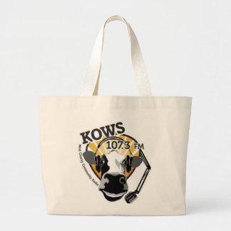 マイクロフォンの買い物袋を持つKOWS牛 ラージトートバッグ