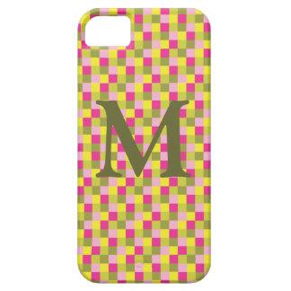 マイクロ点検のピンクの緑のモノグラム iPhone SE/5/5s ケース