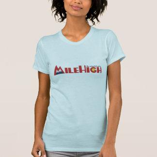 マイルの淡いブルーの高いロゴのTシャツ Tシャツ