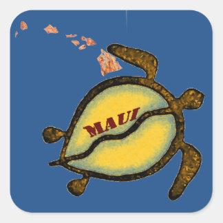 マウイのウミガメのハワイアンの地図 スクエアシール