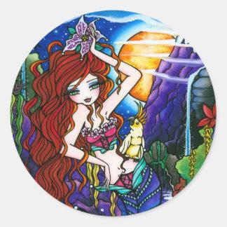 マウイのプリンセスの人魚の妖精のオウム ラウンドシール