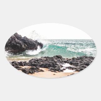 マウイの波 楕円形シール