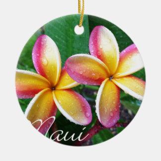 マウイの熱帯プルメリアの花 セラミックオーナメント