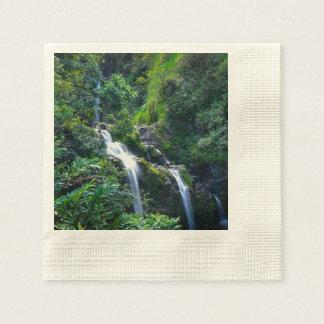 マウイハワイの滝 縁ありカクテルナプキン