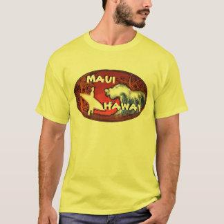 マウイハワイの黄色いサーファーは芸術の人のティーを振ります Tシャツ