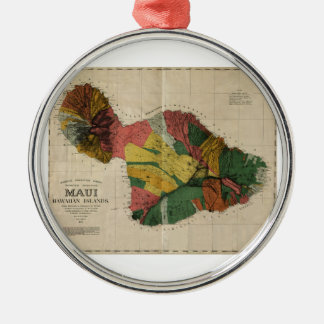 マウイ-ヴィンテージの古書売買のハワイ--の調査の地図1885年 メタルオーナメント